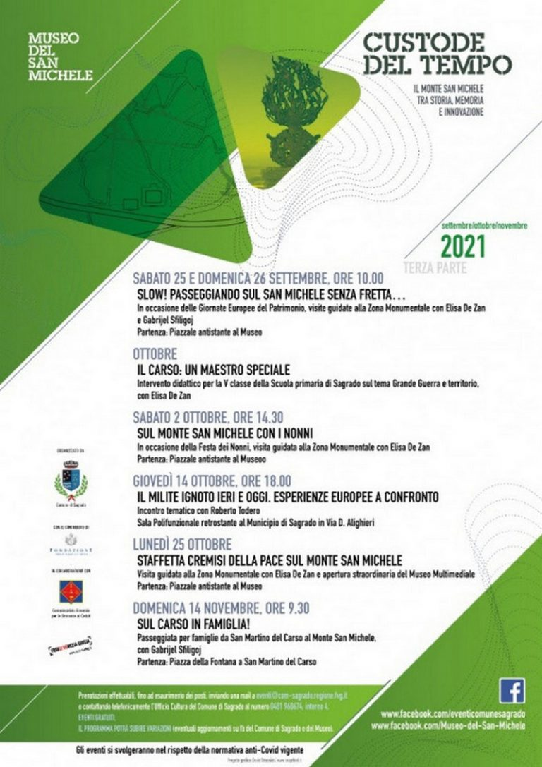 Custode del Tempo: il Monte San Michele tra storia, memoria e innovazione, programma di ottobre novembre